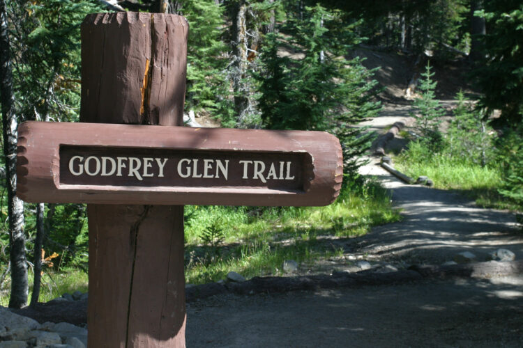 wooden sign denoting godfrey glen trail