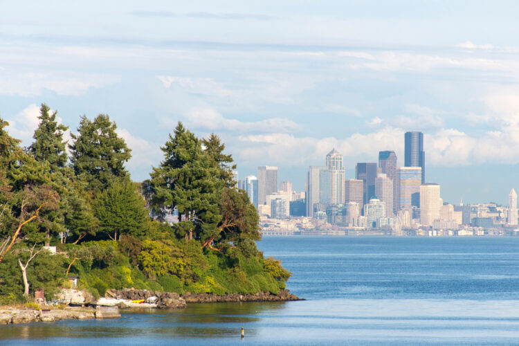 view of seattle skyline with bainbridge island in the foreground
