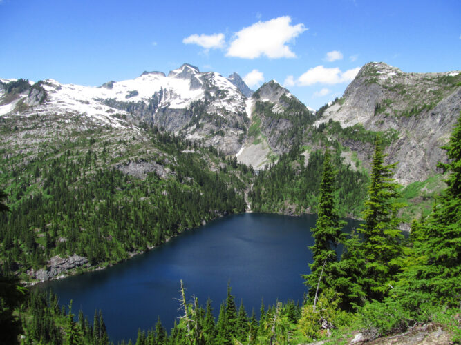 thornton lake in north cascades np as seen from above