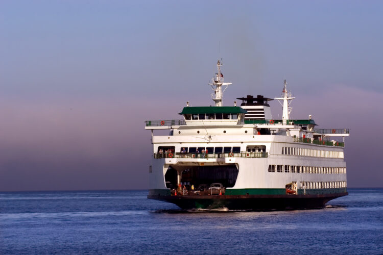 bainbridge island ferry on the water at sunset