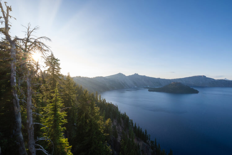 beginning of sunset from one of the best crater lake hikes oregon national park