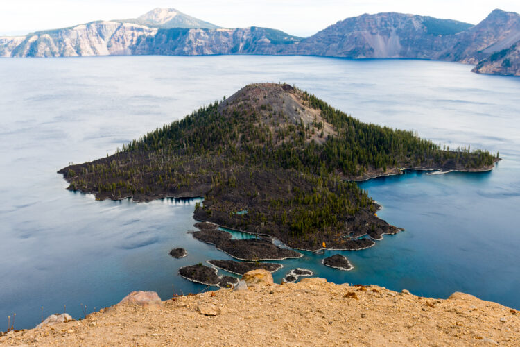 view of wizard island from watchman lookout
