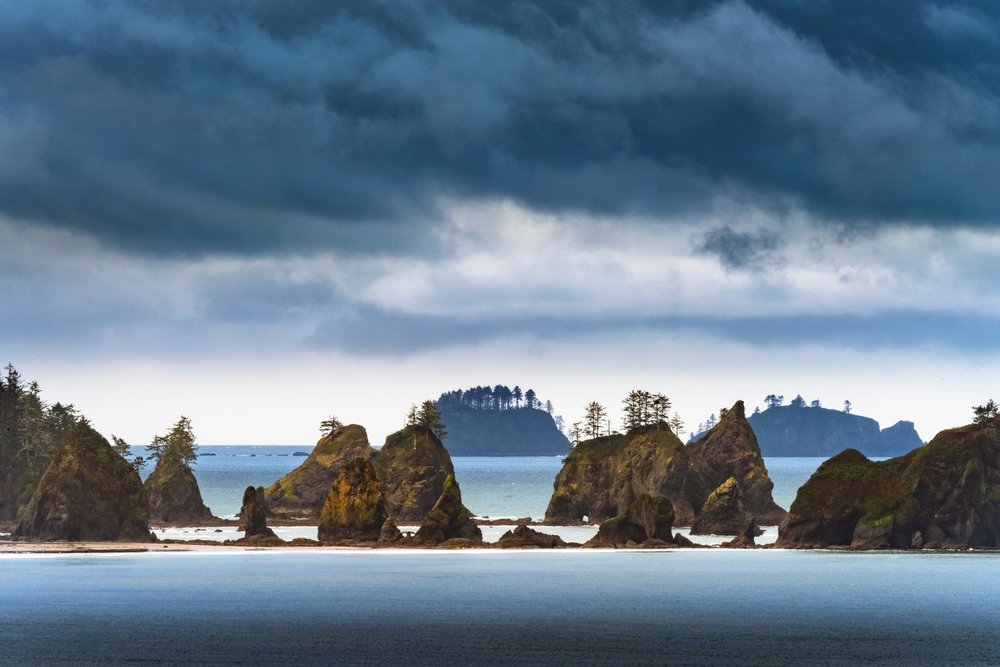A stormy day at the Point of Arches sea stacks out in the Pacific Ocean