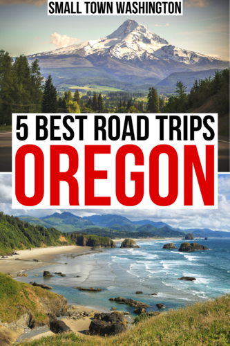 "2 photos of oregon, one of mount hood and one of cannon beach, black and red text on a white background reads ""5 best road trips oregon"""