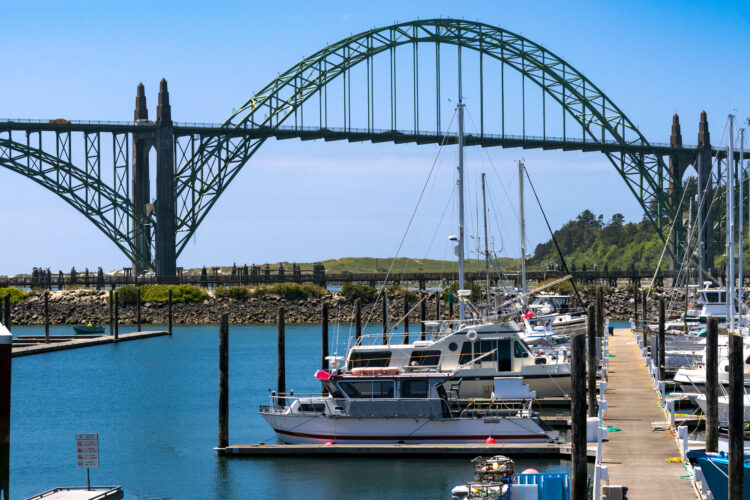 boats docked in newport oregon with metal bridge in the background