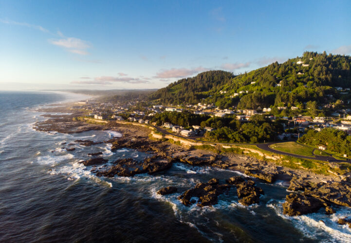 aerial view of yachats oregon