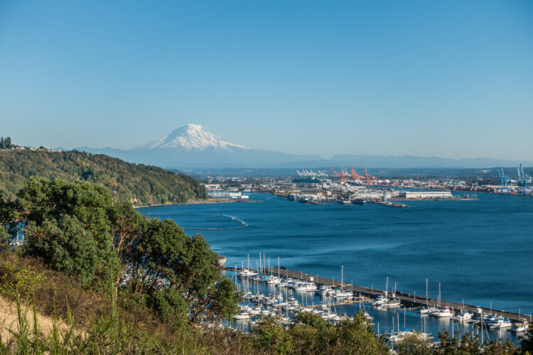 port of tacoma with mount rainier in the background