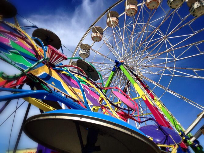 colorful ferris wheels at washington state fair, one of the best seattle day trips