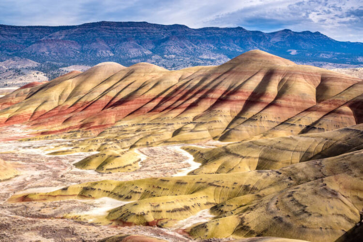 The colorful painted hills of Oregon in colors of brown, red, white, and yellow, with blue and purple higher mountains in the background.