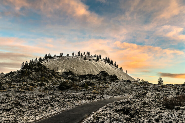 Early Winter Snow Lava Butte at Newberry National Volcanic Monument with a fresh dusting of early winter snow