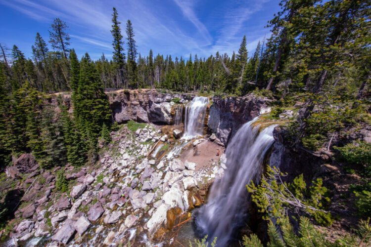 Long exposure shot of Paulina Creek Falls in Newberry National Volcanic Monument, Oregon
