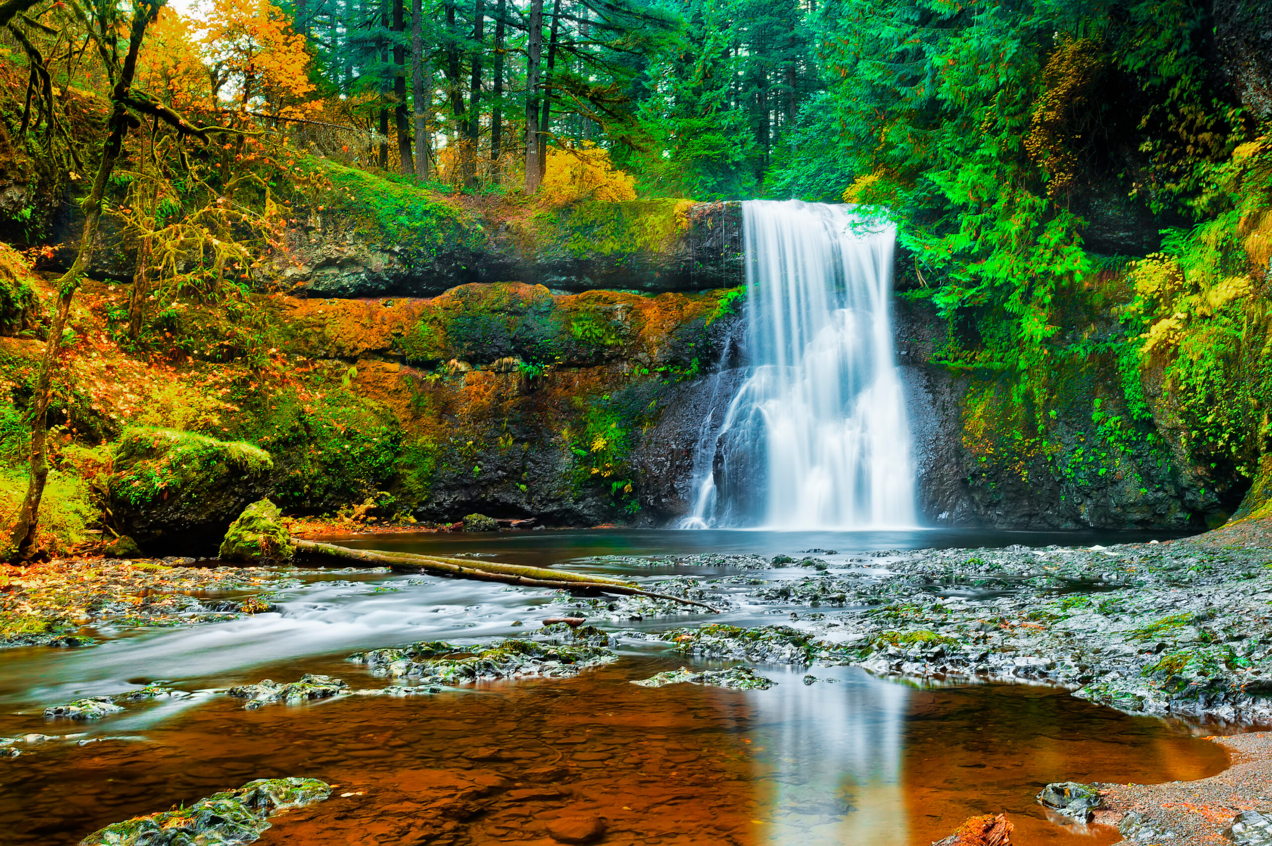 waterfall in silver falls state park, one of the best day trips from portland oregon