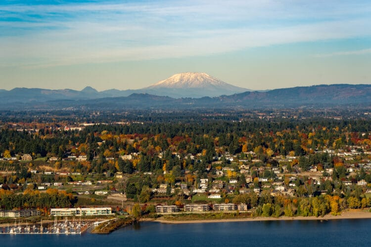 aerial view of vancouver washington in fall with mt st helens in distance, one of the best day trips from portland oregon