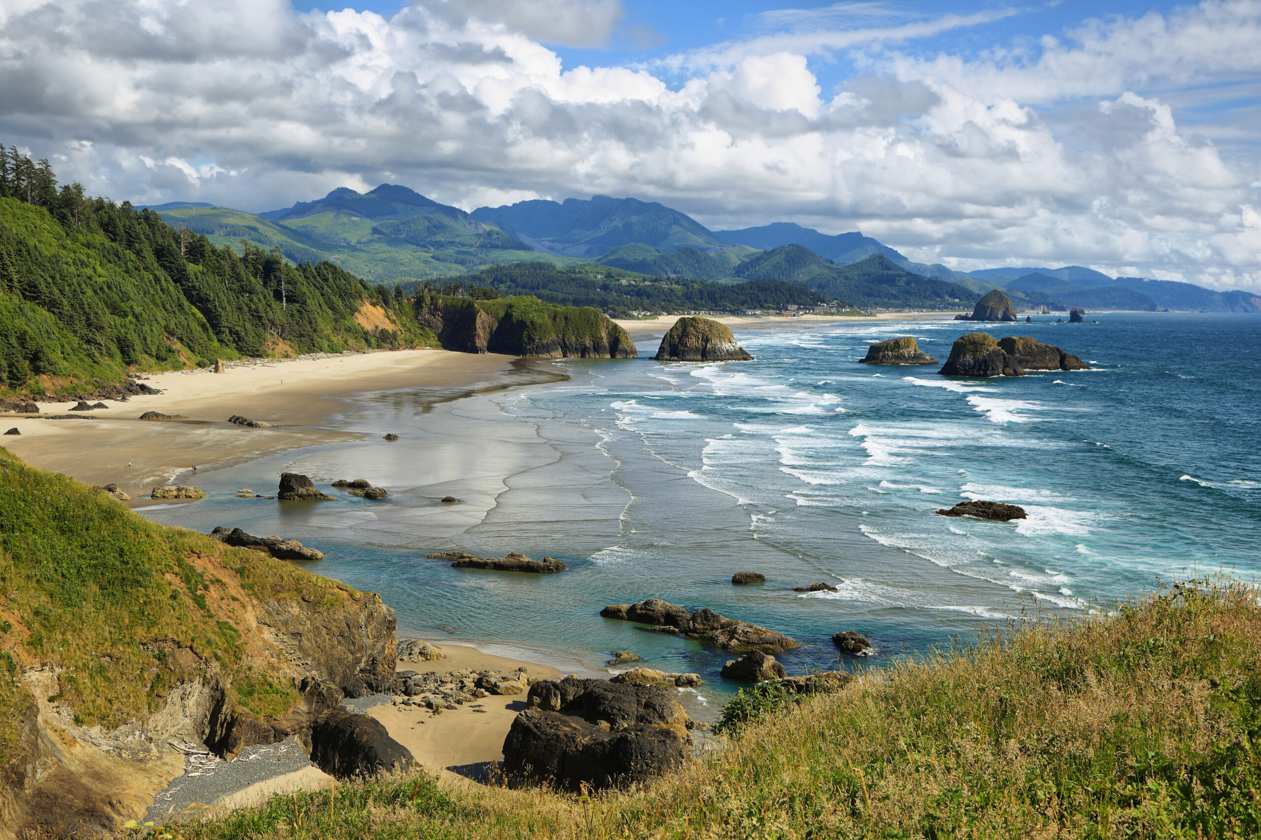 cannon beach as seen from above in manzanita, one of the best coastal towns in oregon
