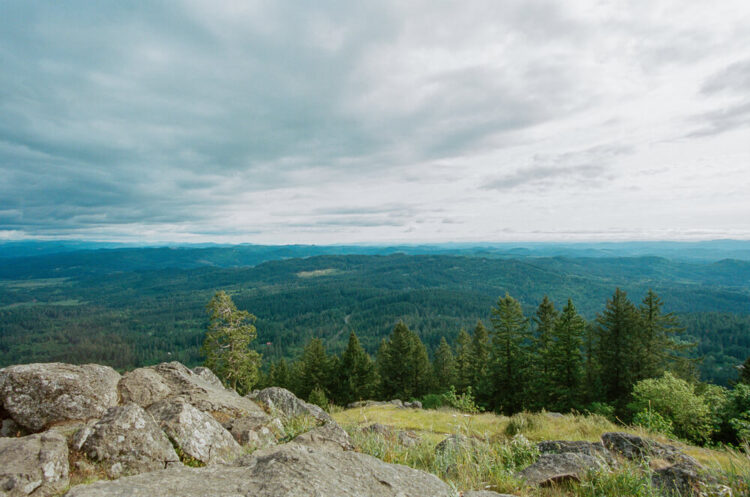 View from the summit of Spencer Butte, seeing tons of evergreen trees off in the distance as well as rocks and a cloudy horizon.