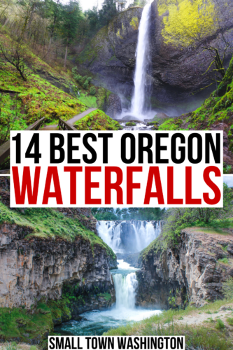 "2 photos of waterfalls in oregon, latourell falls and whie river falls. black and red text on a white background reads ""14 best oregon waterfalls"""