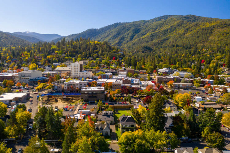 aerial view in fall over the town of ashland oregon