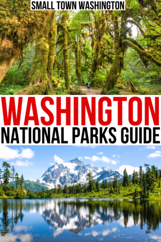 "photo of hoh rain forest and one of north cascades np, black and red text on a white background reads ""washington national parks guide"""