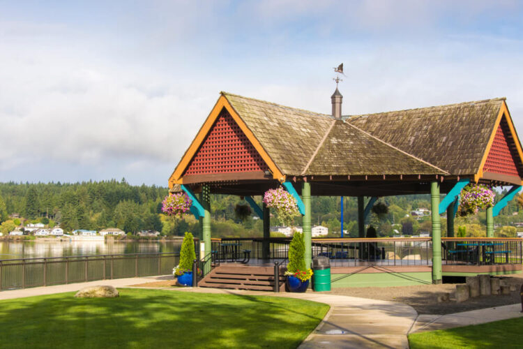 a scenic gazebo in poulsbo washington a quaint norwegian style town. visiting here is a top thing to do in poulsbo!