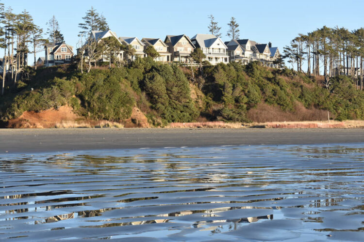 Beautiful houses with a view of the ocean on a small hill overlooking a beach at low tide.