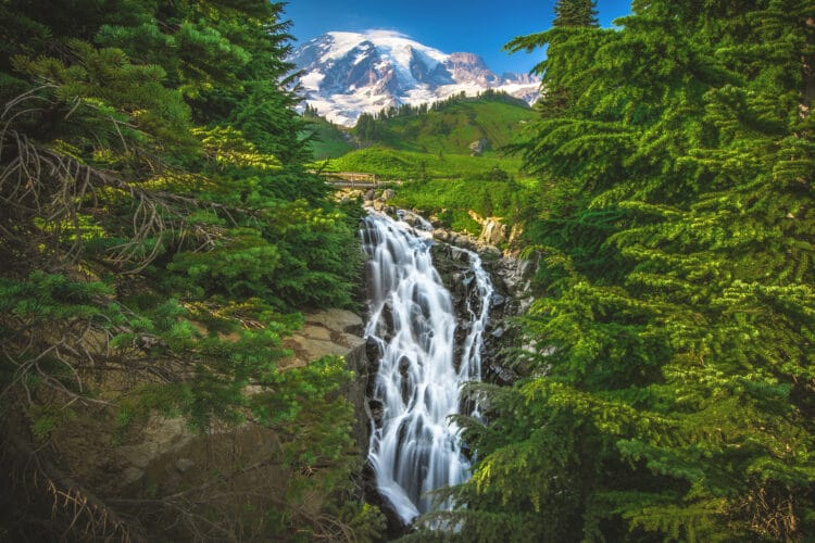 myrtle falls in mount rainier national park washington state