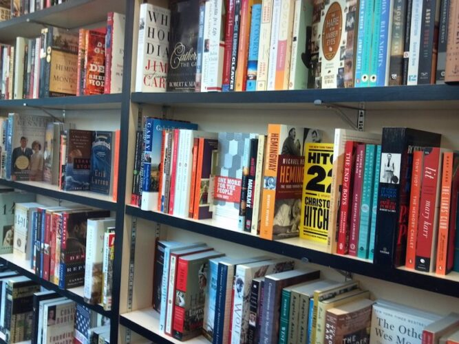bookstore shelves in portland