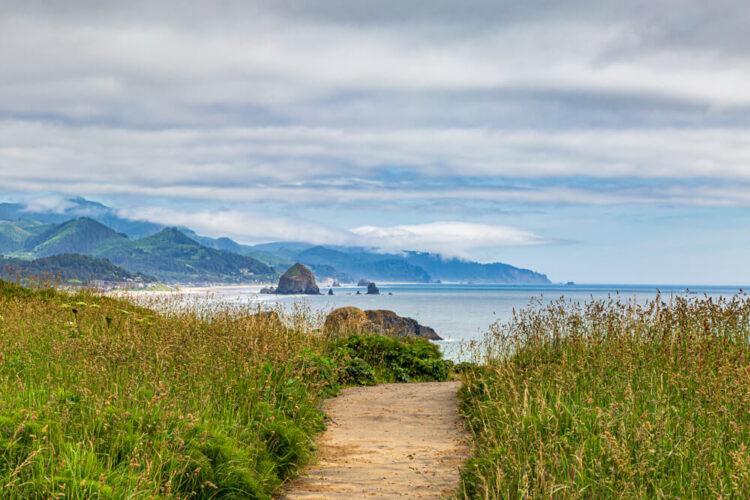 Looking along the Oregon coast towards Cannon Beach and Haystack Rock.