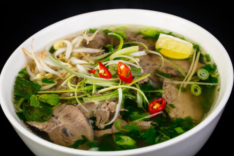 a beautiful bowl of beef pho a noodle soup from vietnam