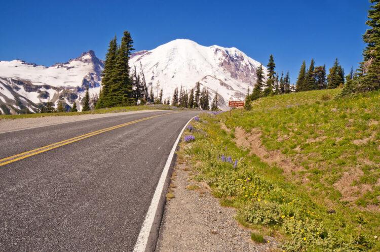 The road leading to Mt Rainier a scenic mountain glacier while Washington road tripping