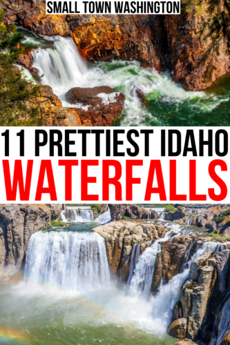 2 phtoos of idaho waterfalls, moyie and shoshone. black and red text on a white background reads 11 prettiest idaho waterfalls