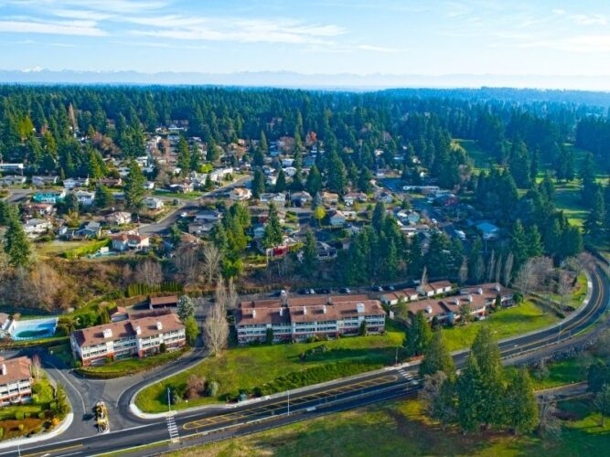 the small town of edmonds near seattle surrounding by trees as seen from above
