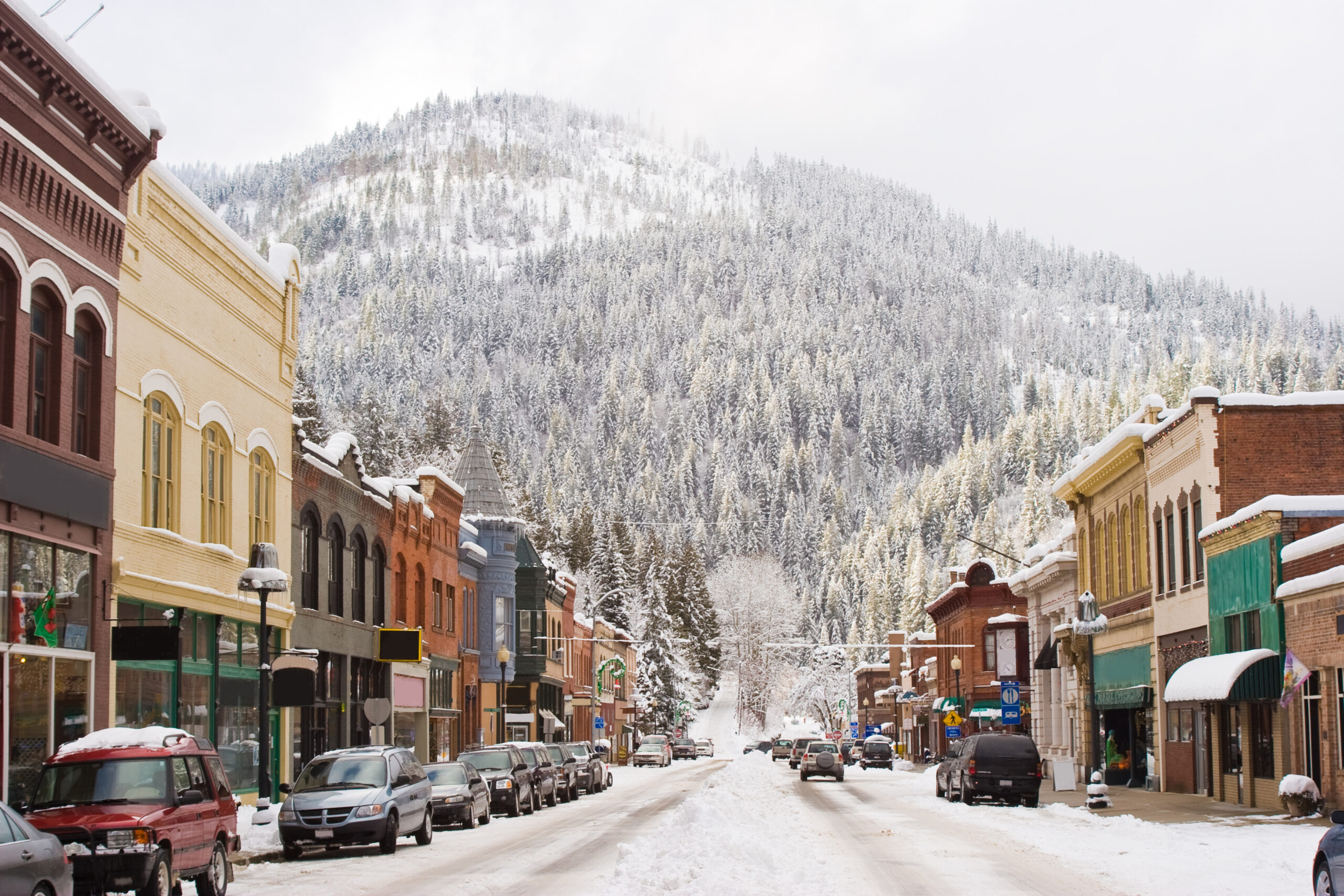snowy street in historic downtown wallace, one of the best small towns in idaho