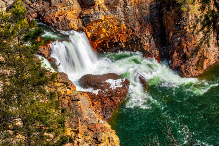 view of moyie falls from above on a sunny day