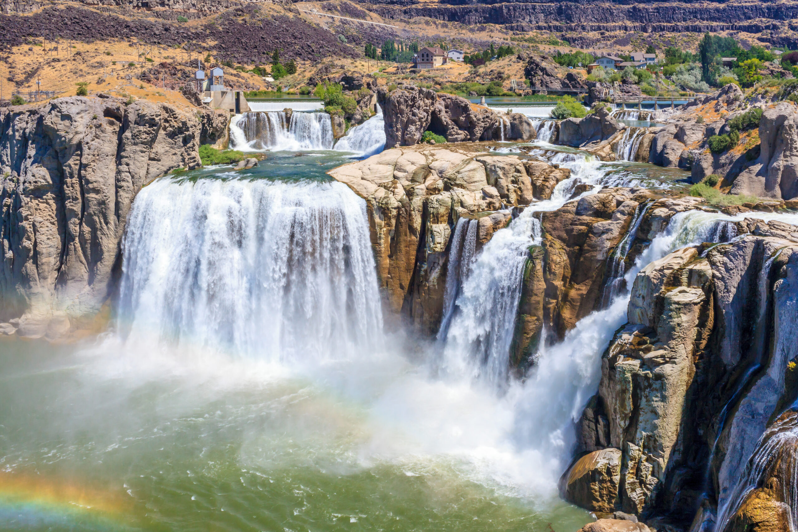 shoshone falls close up from across the river, one of the best waterfalls in idaho to visit