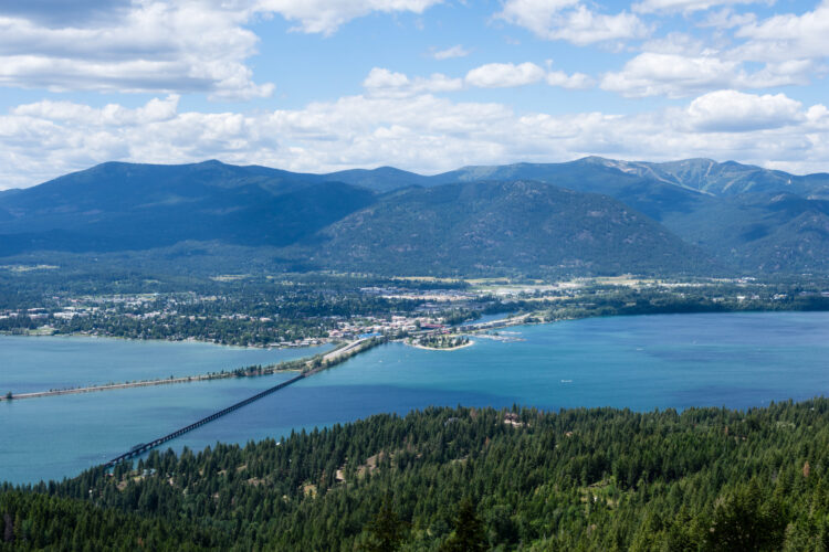 view of sandpoint idaho from above across lake pend orielle