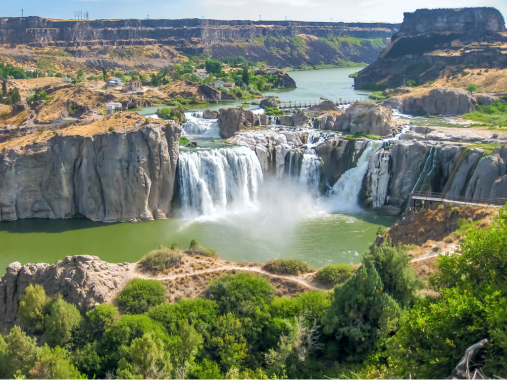 aerial view of shoshone falls from above, one of the most beautiful idaho waterfalls