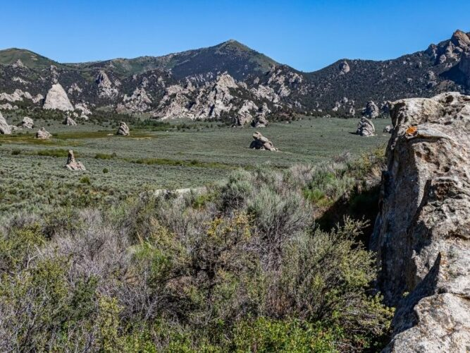 rock formations in city of rocks idaho, a great weekend getaway from boise out in nature